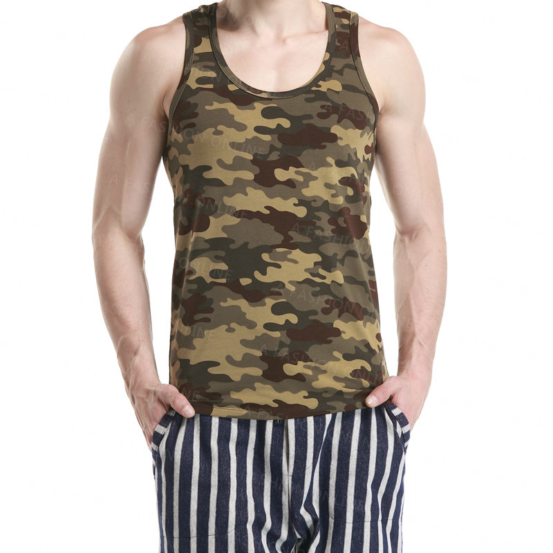 b83ccfe6d6572 Get Quotations · A Fashion Cool Mens Cotton Vest Tank Tops Men s  CamouflageTops Men Gym Tank Top Bodybuilding
