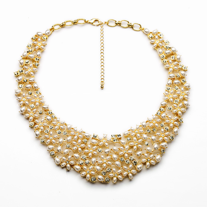 Famous Brand Latest Design Gold Crystal Pearl Necklace Costume Wedding Jewelry