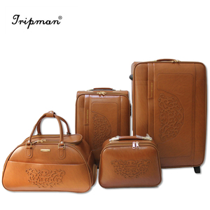 KS001P Factory Wholesale PU Luggage Set Including Two Travel Luggages, One Daffle Bag, One Cosmetic Bag