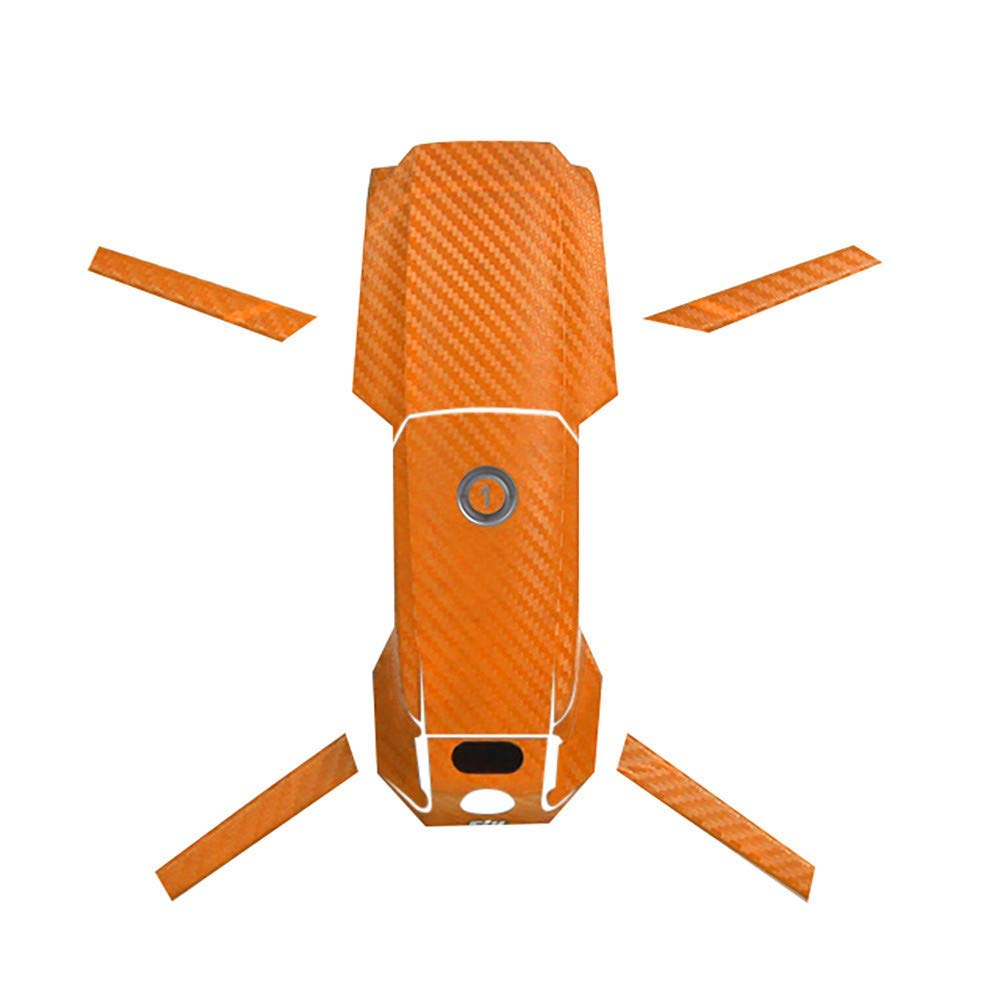Aobiny Drone Sticker Set, Waterproof PVC Carbon Fiber Skin Wrap Grain Graphic Stickers,for DJI Mavic 2 Pro/Zoom (Orange)