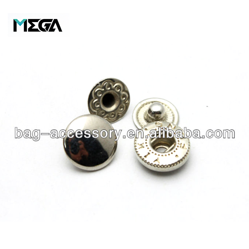 Wholesale decorative accessories logo design round press shirt bag jean custom metal snap buttons for clothes