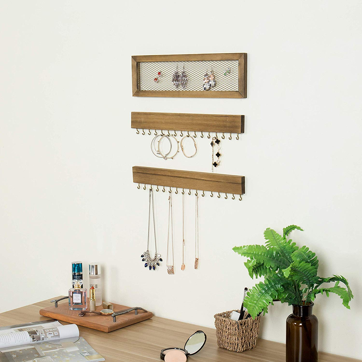 Design  Hanging Jewelry Organizer Necklace Hanger Bracelet Holder Wall Mount Necklace Organizer with hooks