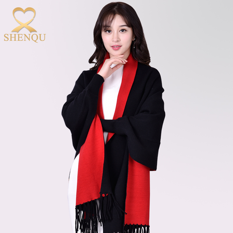 Reversible Double-layer Winter Scarf Shawl Wrap Warm Thick Acrylic Scarf Women Ponchos And Shawls With Sleeves