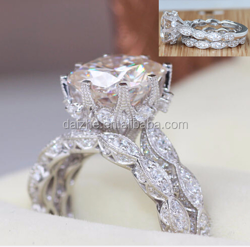 Big european clear cubic zirconia bling 925 silver fashion wedding engagement big stone ring