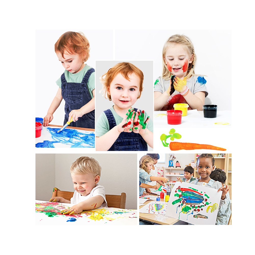 12 Colors Washable Finger Paint Masterpieces Deluxe Set for Kids with Cube Puzzles Painting Brushes Palette Sponge Stamp