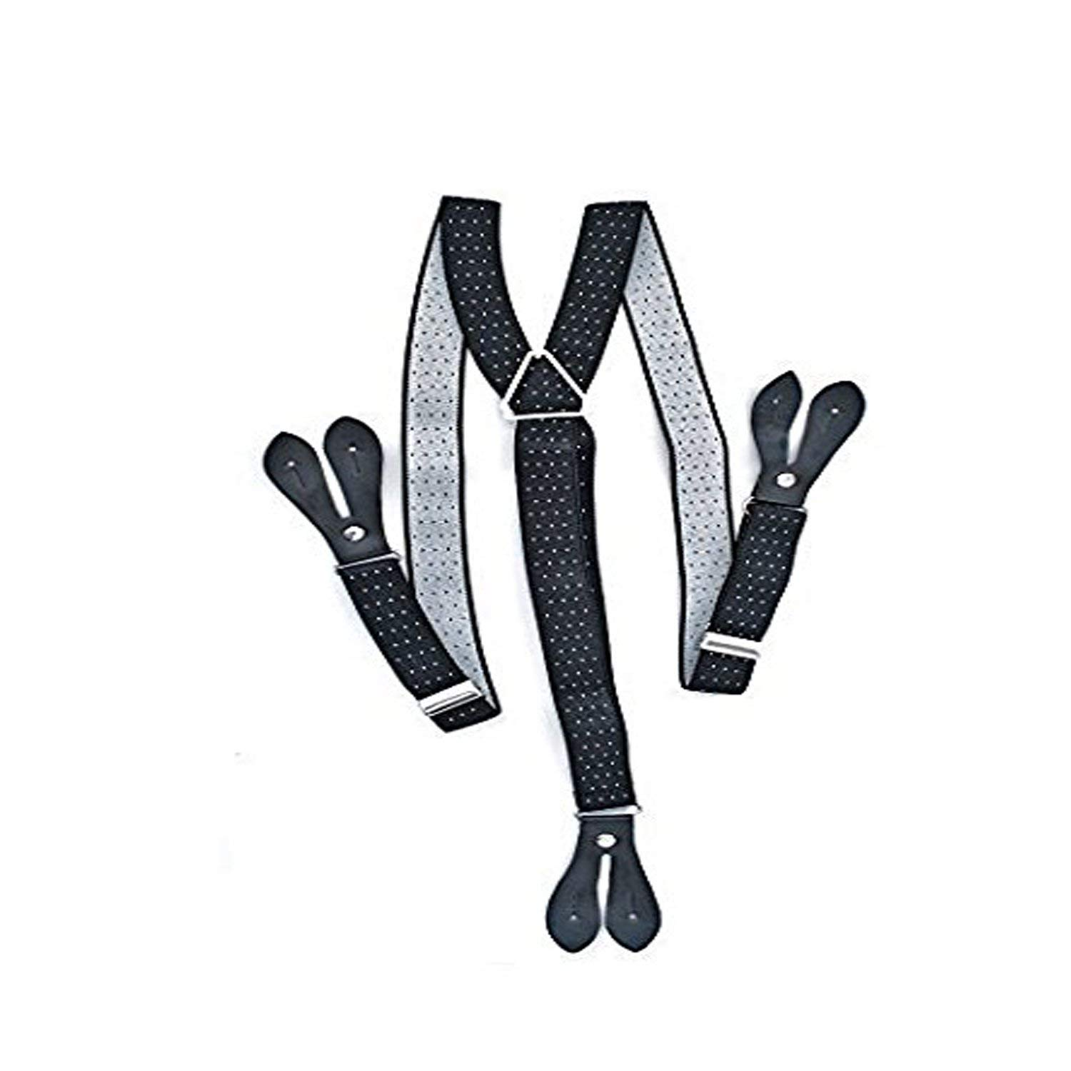 c15b0074e Get Quotations · Mans Braces Navy With White Dot Button Hole Y Shaped Back