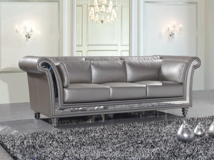 JR325 Modern contemporary silver grey color genuine thick leather stainless  steel metal living room salon visiting