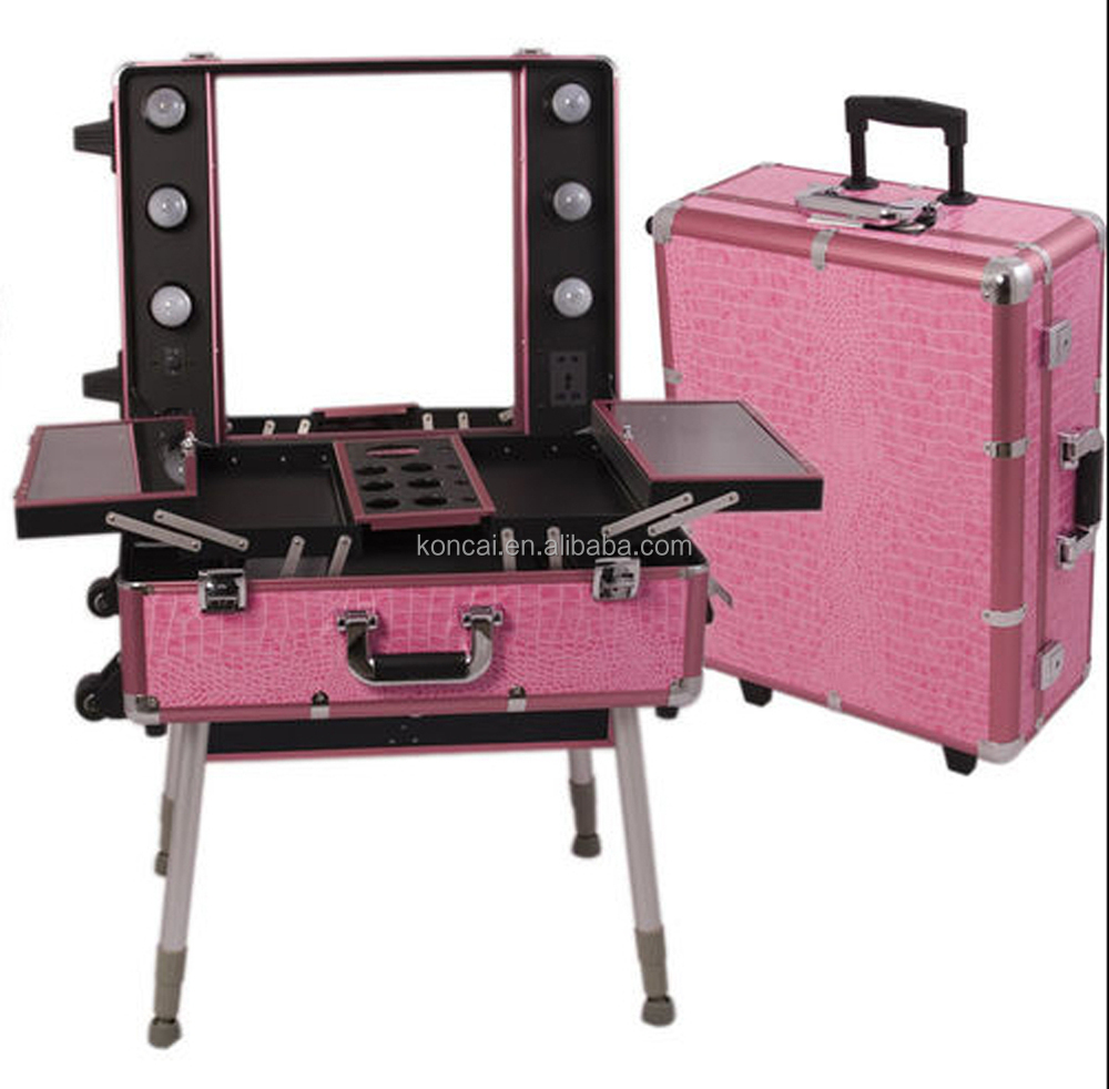 MOQ:1pc , Mobile Professional Portable Aluminum makeup case with lights /rolling trolley makeup train case with stands 5