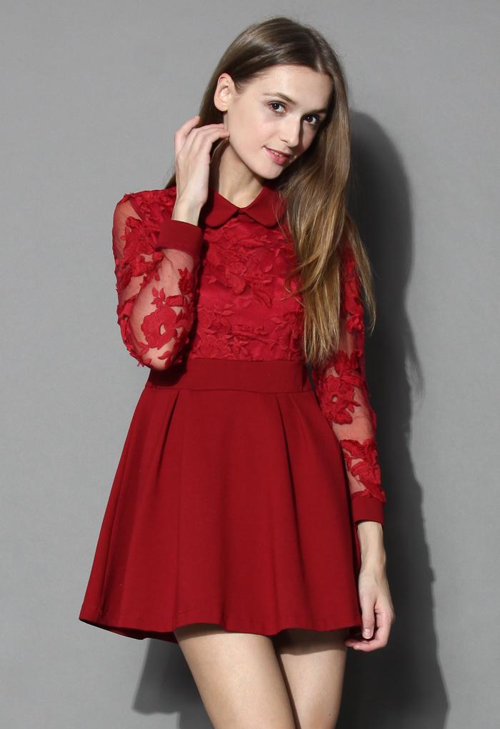 a63e0715b7 Vivid flor encaje rojo patinador de manga larga vestidos de noche corto