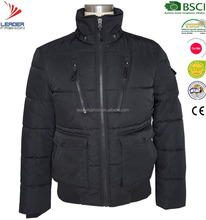 Mens popular black thick padded & down winter bomber jacket with fur hood