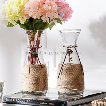 Handmade Flower Arrangement Vasehemp Rope Glass Vase Buy Hemp