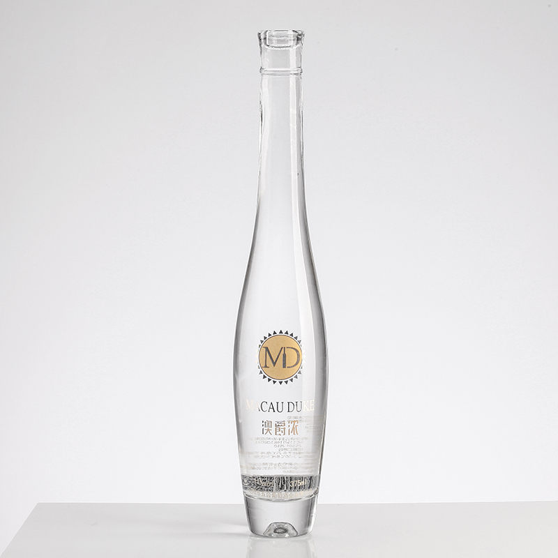 distillery use Delicate Transparent empty glass bottles clear frosted decal