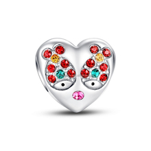Fashion Jewelry Little Fish in Love Heart Charm,Genuine 925 Silver Charm