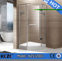 Wheel sliding cheap corner shower units aluminum alloy frame single stall shower