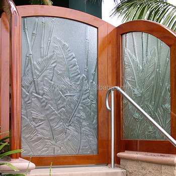 Construction glass flower designs for glass doors