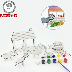 Color, Pop-Out and Play Farm Animals Playset, A Wonderful DIY Gift for Kids Ages 4 to 8