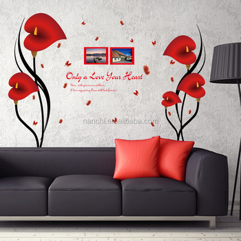 creative diy red removable pvc wall stickers home decoration living