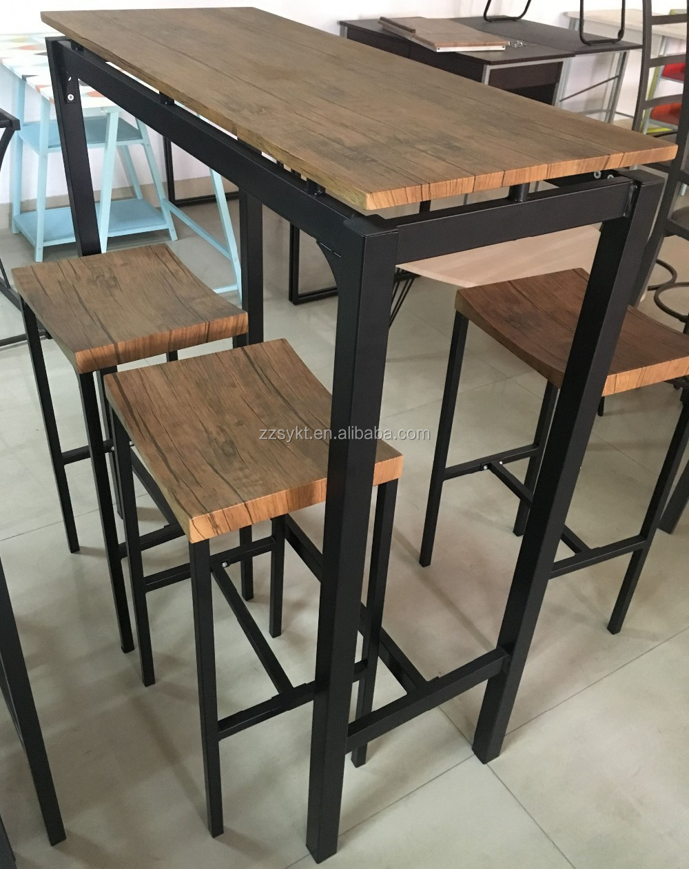 Modern Lounge Pub Furniture Metal Legs Frame Wood Top Bar