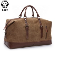 Retro wholesale canvas PU leather popular design traveling overnight weekender holdall travel custom canvas leather duffle bag