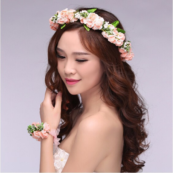 floral flower bridal girl garland wrist garlands crown of flowers for hair  wreath garland headband tiara f6503325358