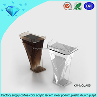 Factory supply coffee color acrylic lectern clear podium,plastic church pulpit