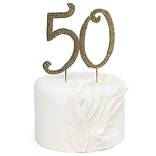 Get Quotations Rose Gold Rhinestone Monogram Number 50 Cake Toppers Happy 50th Birthday Or Anniversary By