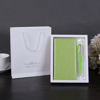 Promotional custom hardcover pu leather gift notebook set with embossed logo