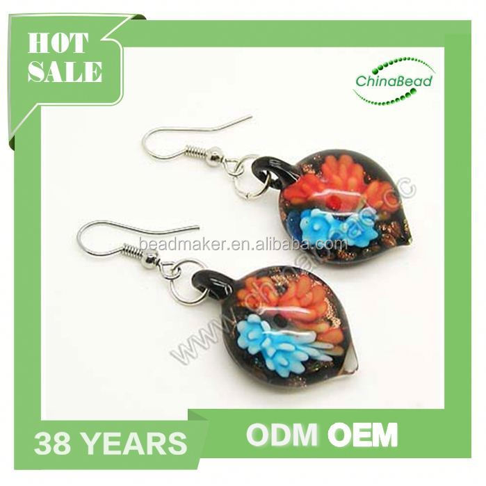 Handmade Lampwork Glass Beads Dangle Earrings Jewellery With Fish Hook
