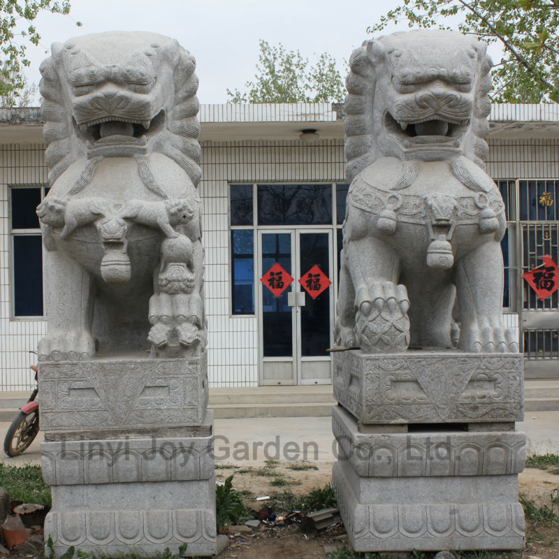 Chinese Stone Lion Garden Animal Statues