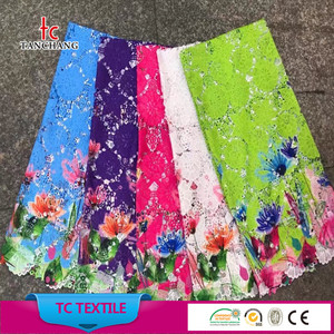 guangzhou factory wholesale printed colorful african lace fabric cheap lace fabric for lady dress SRMF25