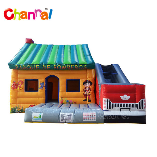 Inflatable Firetruck bouncer house slide