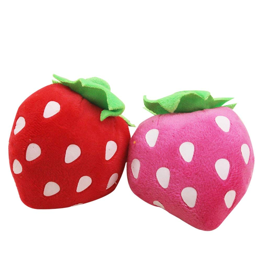 UEETEK Pet Plush Toys Dog Chew Toys Puppy Cats Cute Biting Sound Squeaky Toys Strawberry Design (Random Color)