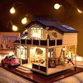 1 24 DIY Handcraft Miniature Doll house Voice activated LED Light Music with Cover Provence Handmade