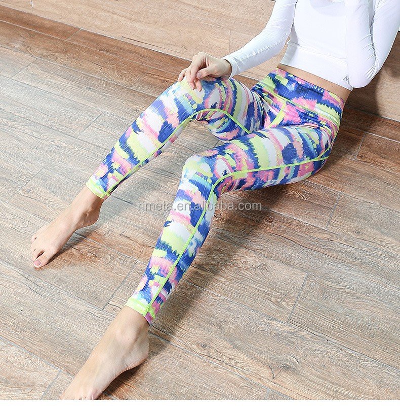 Fashion printing sexy spandex colorful yoga pants sports leggings casure work out athlete clothes for ladies