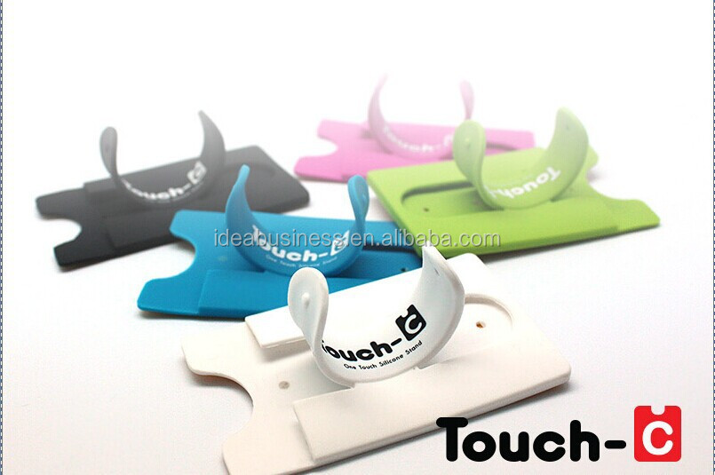 Touch C Silicone Cell Phone Stand Card Holder With Earphone Wire ...