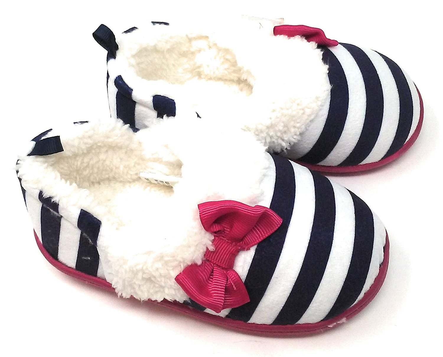 Toddler and Children Slippers, Navy and White Stripes, Pink Bow, Assorted Sizes