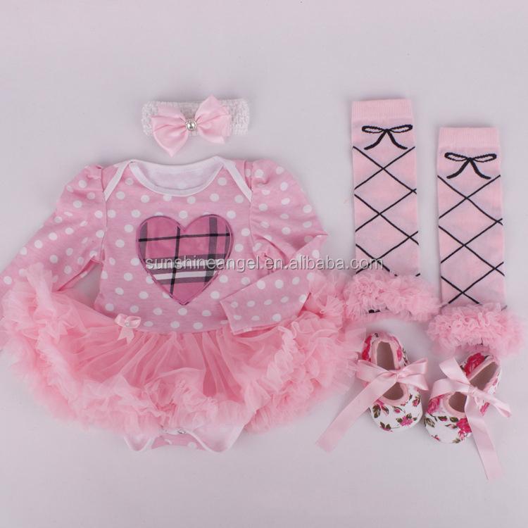 07ebfcb6099a Conjuntos De Ropa De Bebé De Cumpleaños Infantil Regalo Bebé Recién Nacido  Niñas Vestido De Mameluco + Calcetines + Diadema + Zapatos De Ropa De Bebé  Niña ...