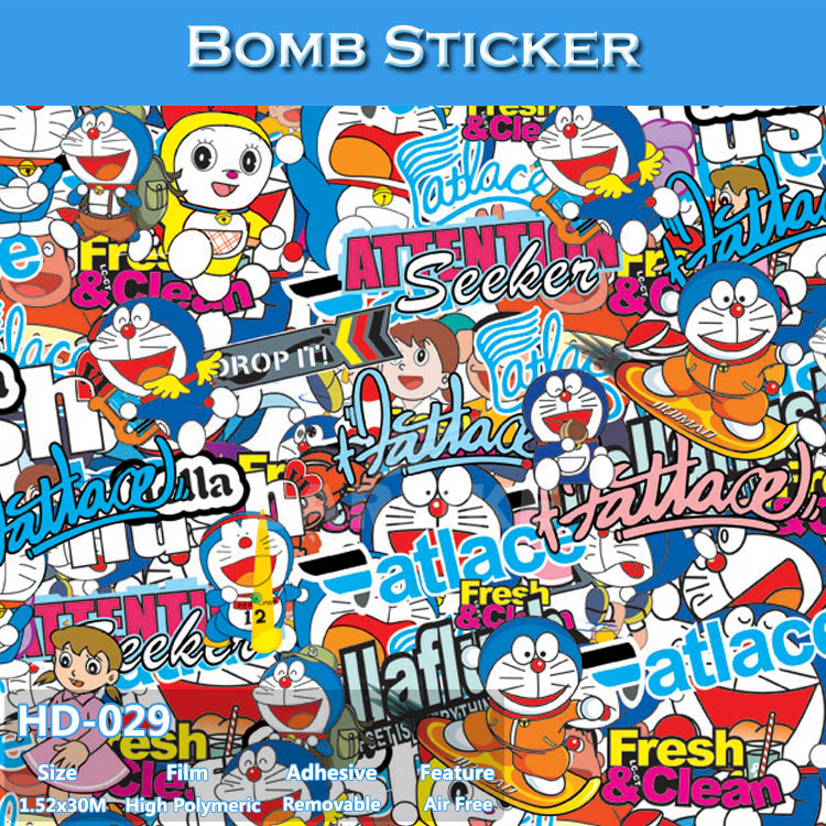 HD-029 CARLIKE Air Free Vivid Car Wrapping Printable Vinyl Bomb Stickers