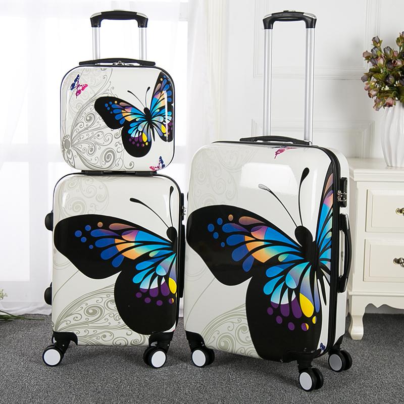 Заводская дешевая цена 3 шт. комплект багажа с внешней тележкой с принтом бабочки чемодан