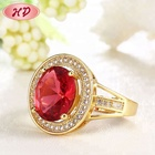 Antique Gemstone Crystal Red Stone Ring Ruby Gold Ring Design With One Stone