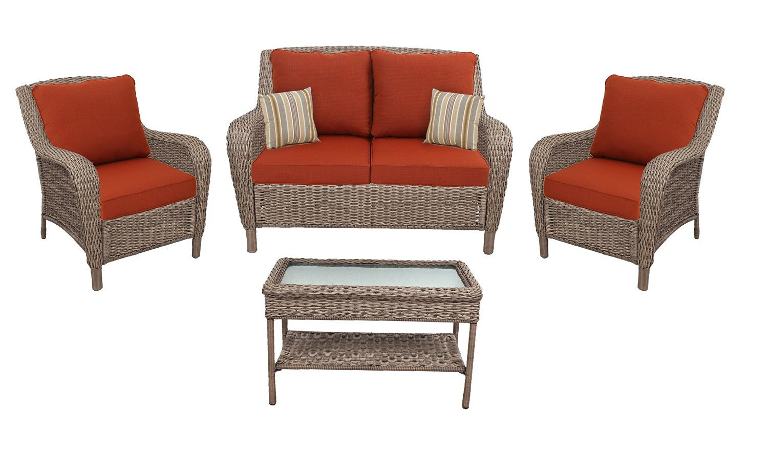Quality Outdoor Living Gettysburg All-Weather Resin Wicker Deep Seating Patio Set, 4-Piece, Brown with Red Cushions