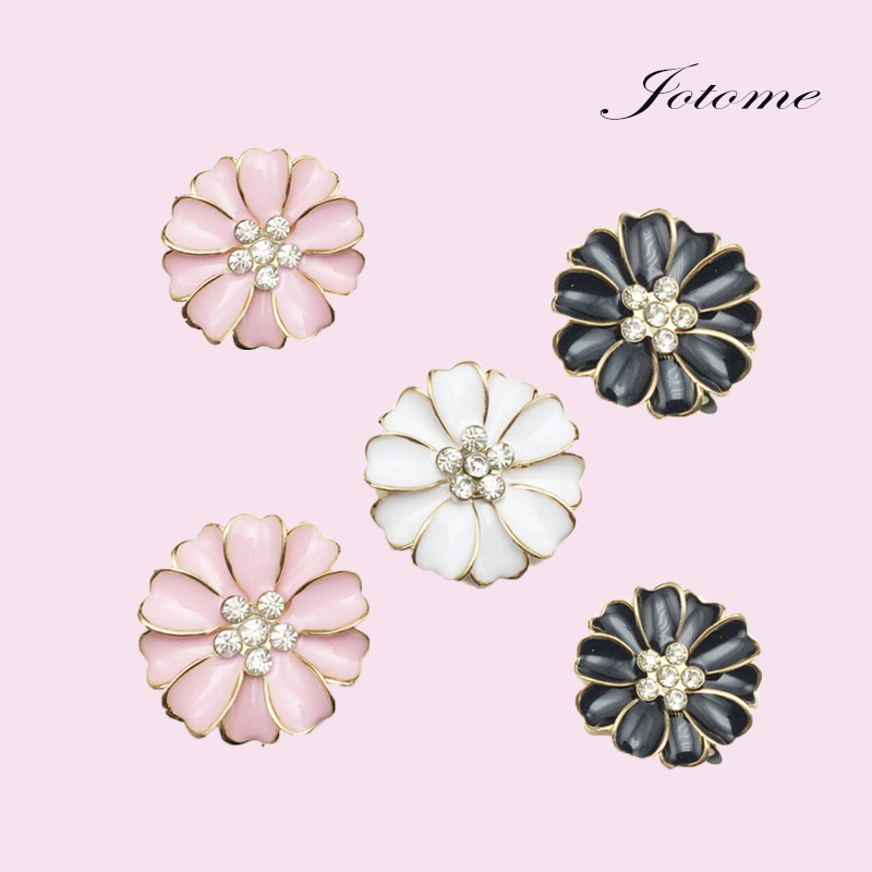 5 Enamel Rhinestone Flower Embellishment Flat Back Hair Flower Center Button Component Headband Jewelry Phone Case Supply 30x30m