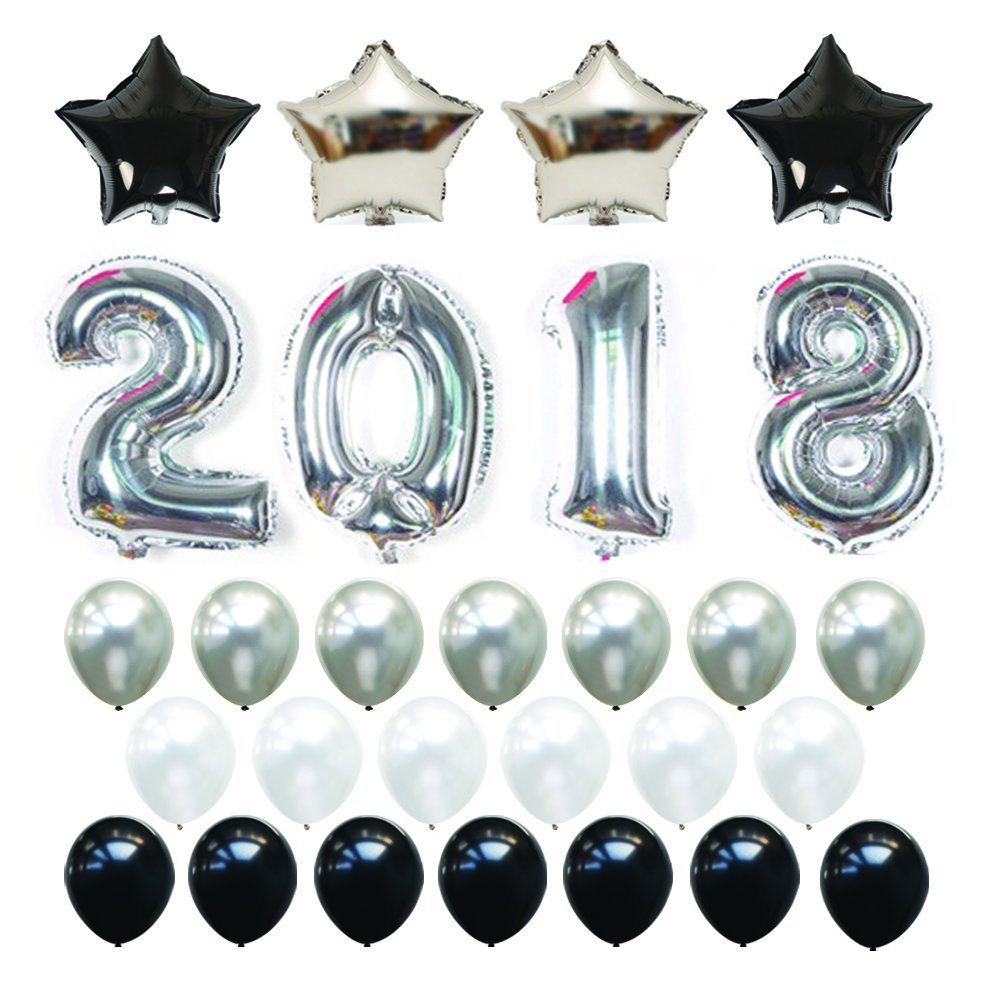 18 Inch Mylar Foil Star Balloons-12 Inch Pearl Black Gold Latex Balloons New Year Eve Graduation Decorations Party Supplies