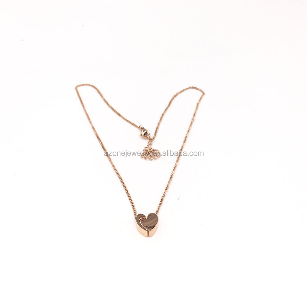 Newest Product Satin Rose Gold Separable Heart Pendant Necklace Jewelry