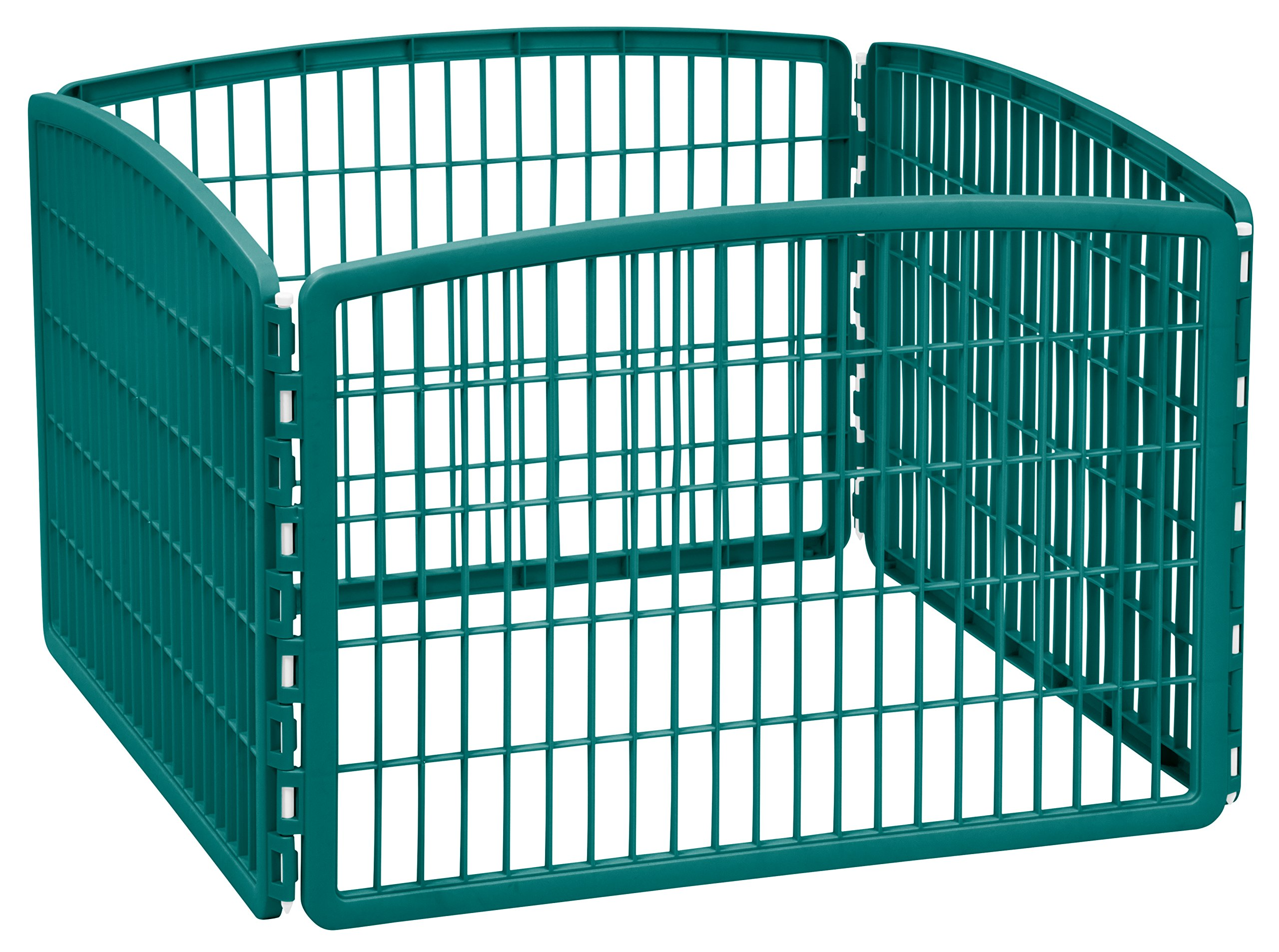 IRIS 24'' Exercise 4-Panel Pet Playpen without Door, Turquoise
