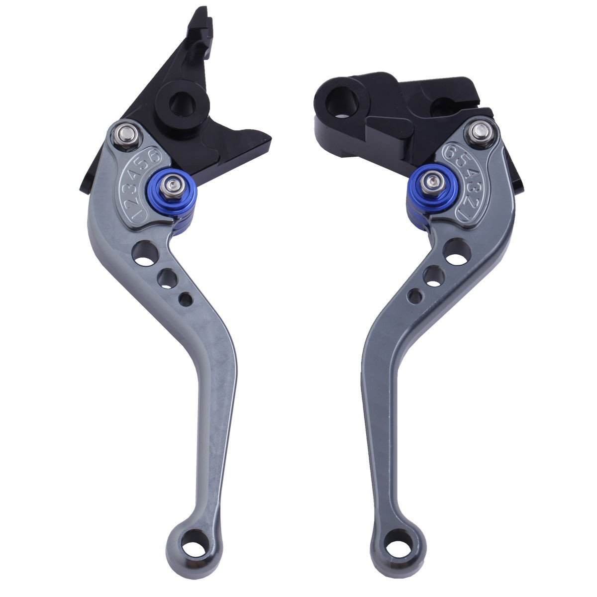 LUO CNC Short Brake Clutch Levers for Yamaha MT-07/FZ-07 2014-2017,FZ1 Fazer 2006-2013,FZ6 Fazer 2004-2010,FZ6R 09-11,Fazer 600 1999,FZ8 2011-2015,MT-09/SR/FZ9 2014-2017,XJ6 Diversion 09-15-Gray