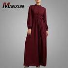 Modern Hot Sell Simple Style Muslim Dress Button Design Fashion Islamic Women Clothing Maroon Arab Abaya Fashion For Women