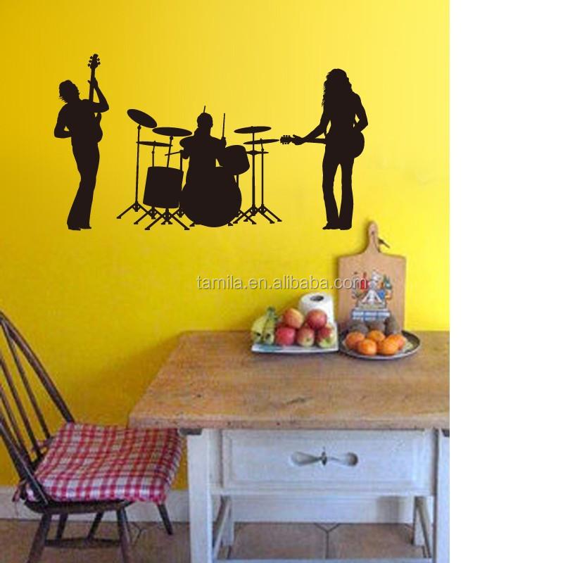 Rock Band Decor Wall Sticker Cool Pop Art Mural Music Wall Sticker ...