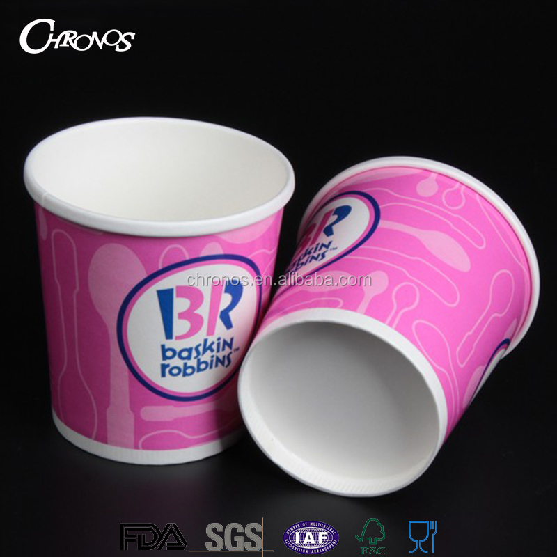 Low price biodegradable white pink ice cream paper tubs with lids