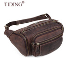 Tiding Vintage Men's Dark Brown Cowhide Leather Large capacity Waist Bag Travel Running Waist Belt Bag